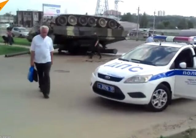 T-80 Tank Turns Over Near Moscow