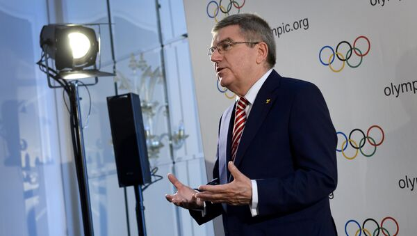 International Olympic Committee president Thomas Bach gestures during a press conference following an IOC executive meeting. File photo - Sputnik International