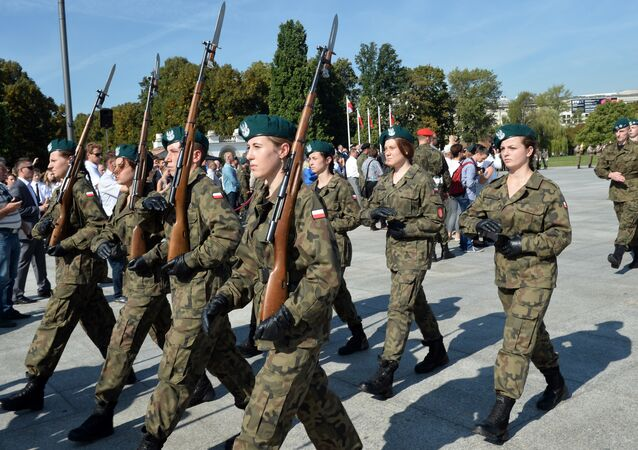 Polish cadets attend a parade in the Polish capital Warsaw to mark the 76th anniversary of the Soviet Union's invasion of Poland during World War II in Warsaw on September 17, 2015