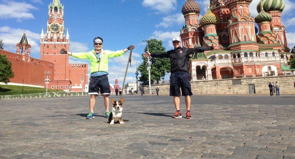 Nikolai with his dog Pastushok leaving Moscow