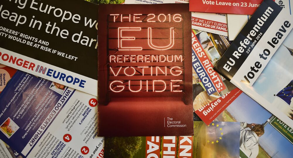 Leaflets delivered recently to British households, relating to the forthcoming European Union (EU) referendum, are arranged for a photograph in London on May 31, 2016