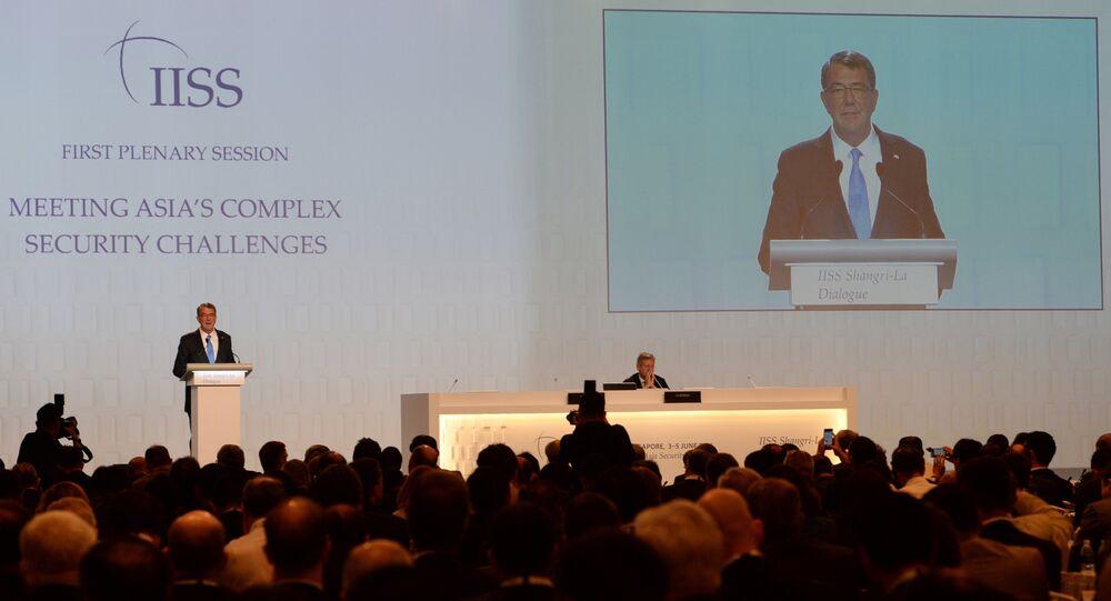 US Secretary of Defense Ashton Carter speaks at the 15th International Institute for Strategic Studies (IISS) Shangri-La Dialogue in Singapore on June 4, 2016