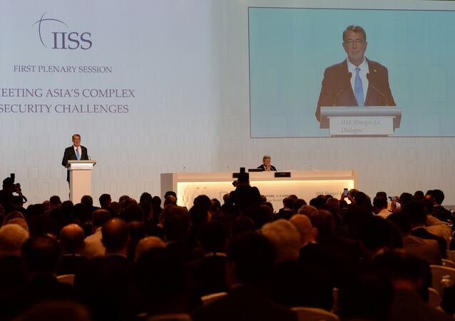 US Secretary of Defense Ashton Carter speaks at the 15th International Institute for Strategic Studies (IISS) Shangri-La Dialogue in Singapore on June 4, 2016