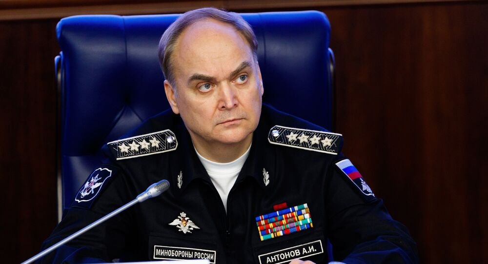 Russia's Deputy Defense Minister Anatoly Antonov during a briefing on the situation in Syria at the ministry's Press Cente