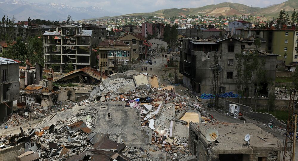Buildings which were damaged during security operations and clashes between Turkish security forces and Kurdish militants, are seen in Yuksekova in the southeastern Hakkari province, Turkey, May 30, 2016.