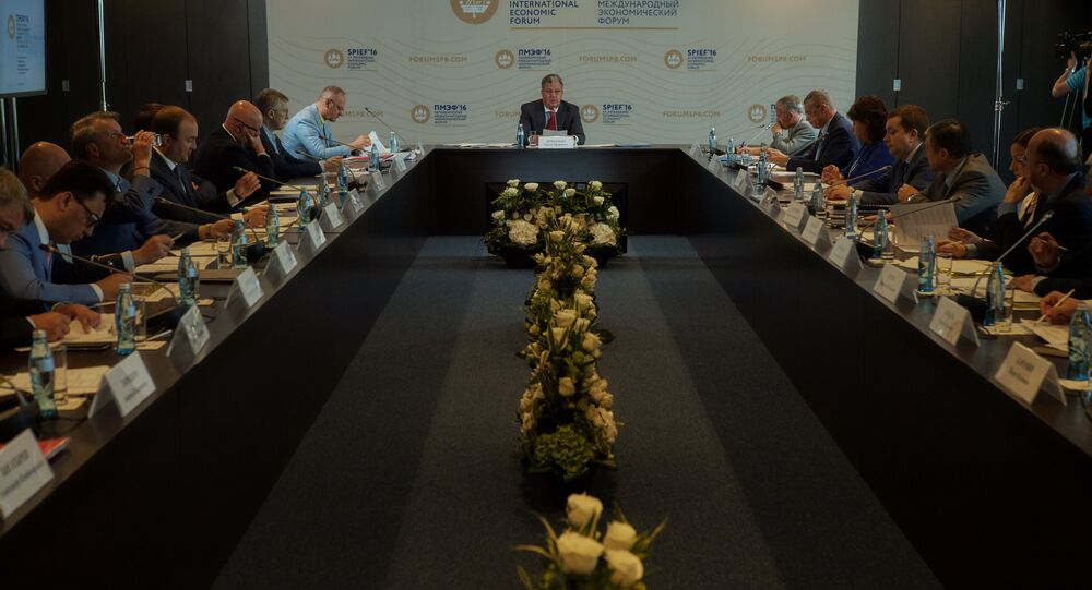 Deputy Prime Minister Sergei Prikhodko at the meeting of the Organizing Committee on the Holding of the 20th St. Petersburg International Economic Forum, at Expoforum