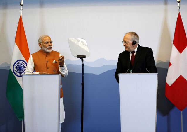 Indian Prime Minister Narendra Modi gives a news conference with Swiss President Johann Schneider-Ammann after their meetings in Geneva, Switzerland, June 6, 2016.