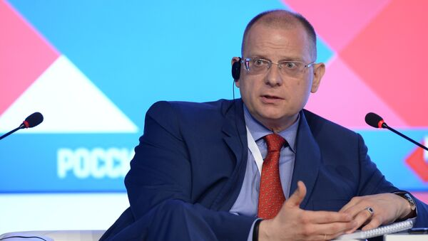 Konstantin Dolgov, Russian Foreign Ministry Commissioner for Human Rights, Democracy and the Rule of Law, during the session The journalist in the post-mainstream age at the forum The New Era of Journalism: Farewell to Mainstream at the Rossiya Segodnya International Multimedia Press Center. - Sputnik International