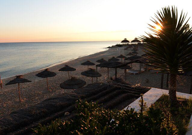 A beach at the Bel Azur Hotel area in Hammamet