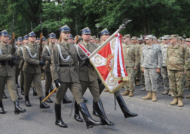 Polish honour guard march during the opening ceremony of the the Anaconda-16 military exercise in Rembertow, June 6, 2016