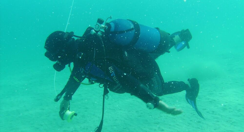 A diver inspects what was thought to be an underwater 'lost city' in the waters of the Greek island Zakynthos.