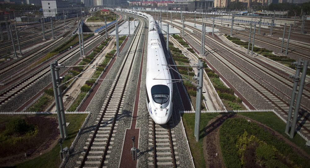 CRH high-speed train leaves the Beijing South Station for Shanghai during a test run on the Beijing-Shanghai high-speed railway in Beijing, China