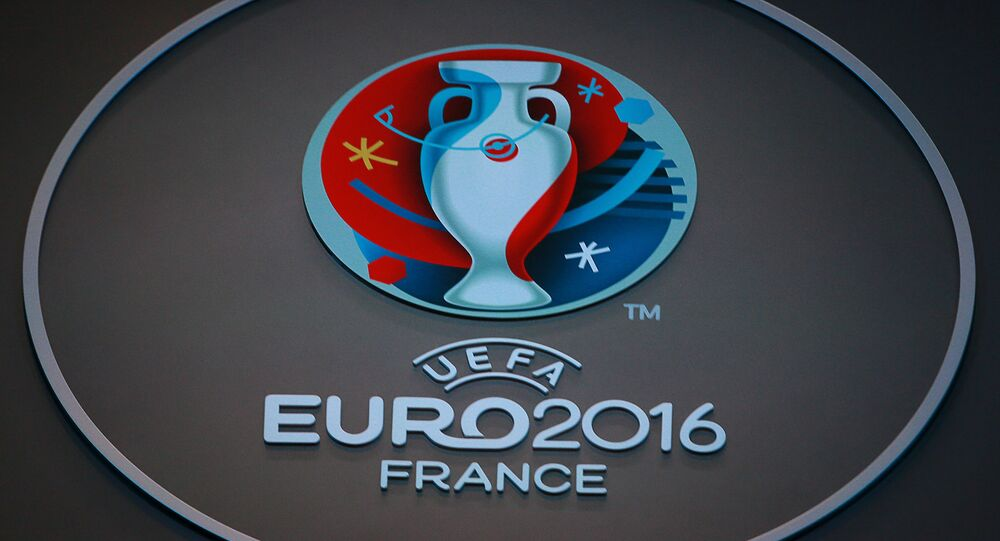 The official UEFA Euro 2016 logo at the UEFA Euro 2016 final draw at the Palais des Congres in Paris, France