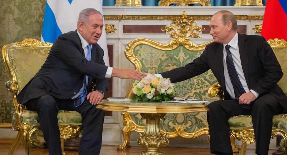 Russian President Vladimir Putin during talks with Israeli Prime Miniter Benjamin Netanyahu in Kremlin.