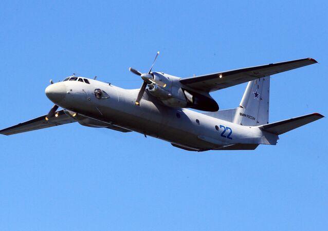 An Antonov An-26 military and civilian transport aircraft.