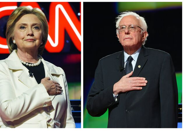This two-picture combination shows US Democratic presidential candidates Hillary Clinton (L) and Bernie Sanders