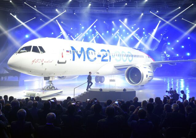 June 8, 2016. Russian Prime Minister Dmitry Medvedev takes part in a presentation of MC-21-300 mid-range aircraft at the Irkutsk Aircraft Plant (Irkut Corporation).