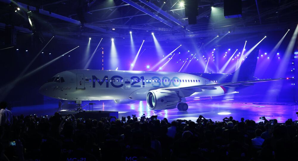 Presentation of MC-21-300 mid-range aircraft at the Irkutsk Aircraft Plant (Irkut Corporation)