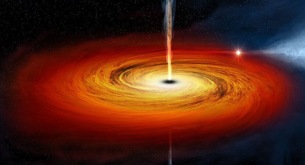 An artist's drawing a black hole named Cygnus X-1. It formed when a large star caved in. This black hole pulls matter from blue star beside it.