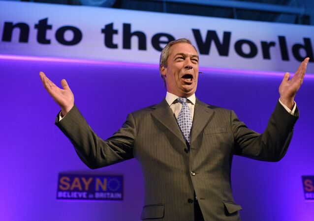 UK Independence Party (UKIP) leader Nigel Farage, reacts as he addresses delegates during his keynote speech to the UKIP National Conference at Doncaster Racecourse, in Doncaster, northern England on September 25, 2015.