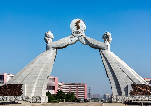 A Statue depicting the Reunification of Korea, located in Pyongyang, Democratic People's Republic of Korea (North Korea)