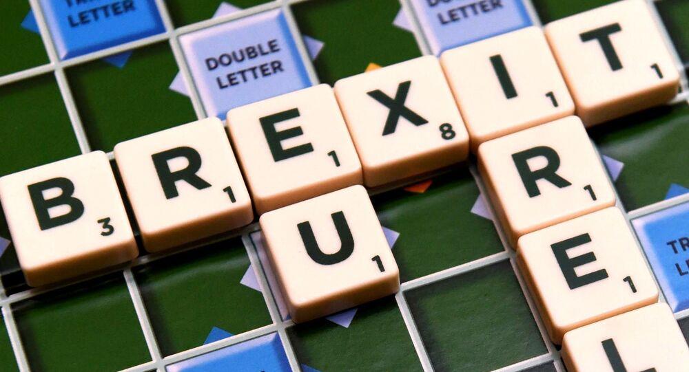 A scrabble board spells out Brexit in Dublin