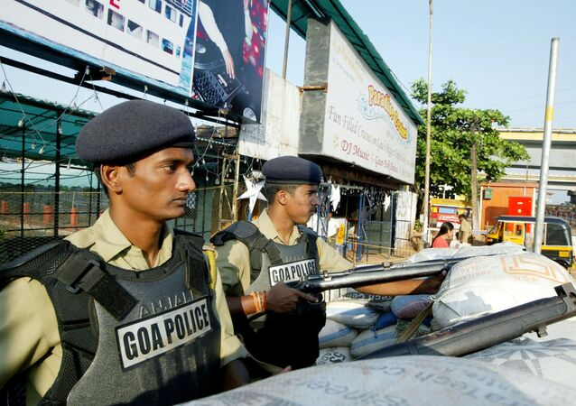 Indian police officers stand guard on a street in the capital of the Indian state of Goa (File)
