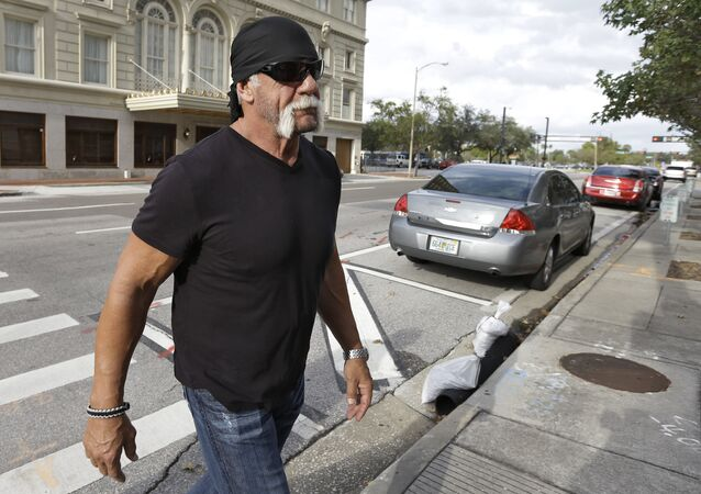 Reality TV star and former pro wrestler Hulk Hogan, whose real name is Terry Bollea, arrives at the United States Courthouse.