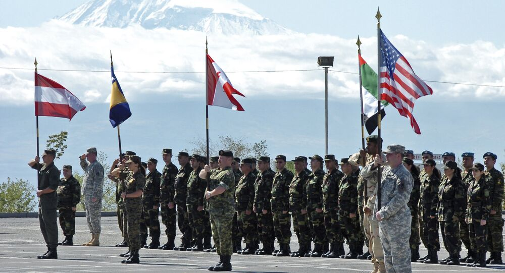 Opening ceremony of joint Armenia - NATO's Partnership for Peace manuevers in Yerevan, Armenia (File)