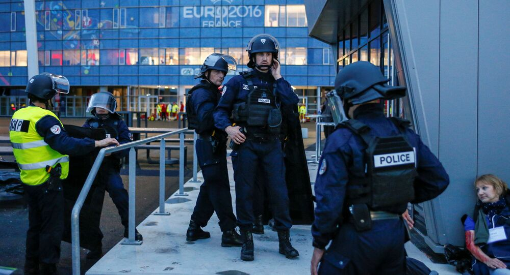 French Police forces take part in a mock attack drill outside the Grand Stade stadium (aka Parc Olympique Lyonnais or the Stade des Lumieres) in Decines, near Lyon, France, in preparation of security measures for the UEFA 2016 European Championship May 30, 2016