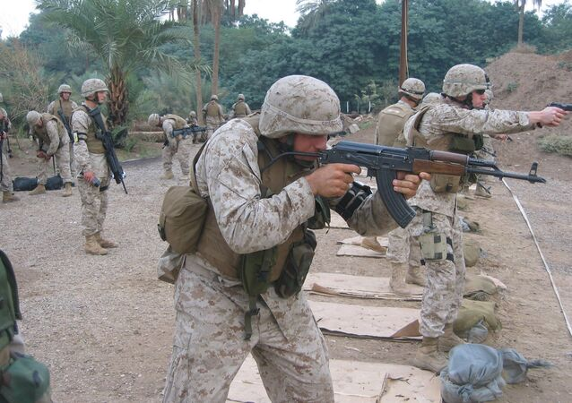 US Marine Lance Corporal Cheema firing the East German MpiKMS-72 variant of the updated version of the AK-47 assault rifle. File photo