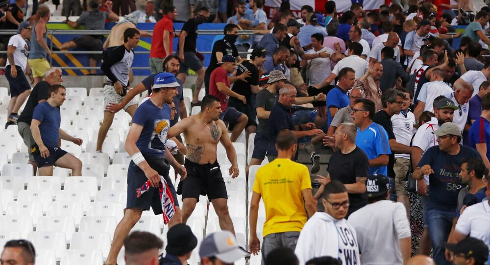 Football Soccer - England v Russia - EURO 2016 - Group B - Stade Vélodrome, Marseille, France - 11/6/16 Fans clash in the stadium after the game