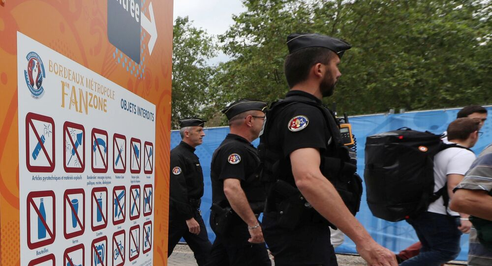 Policemen secure the area around the UEFA 2016 European Championship Fan Zone at Place des Quinconces.