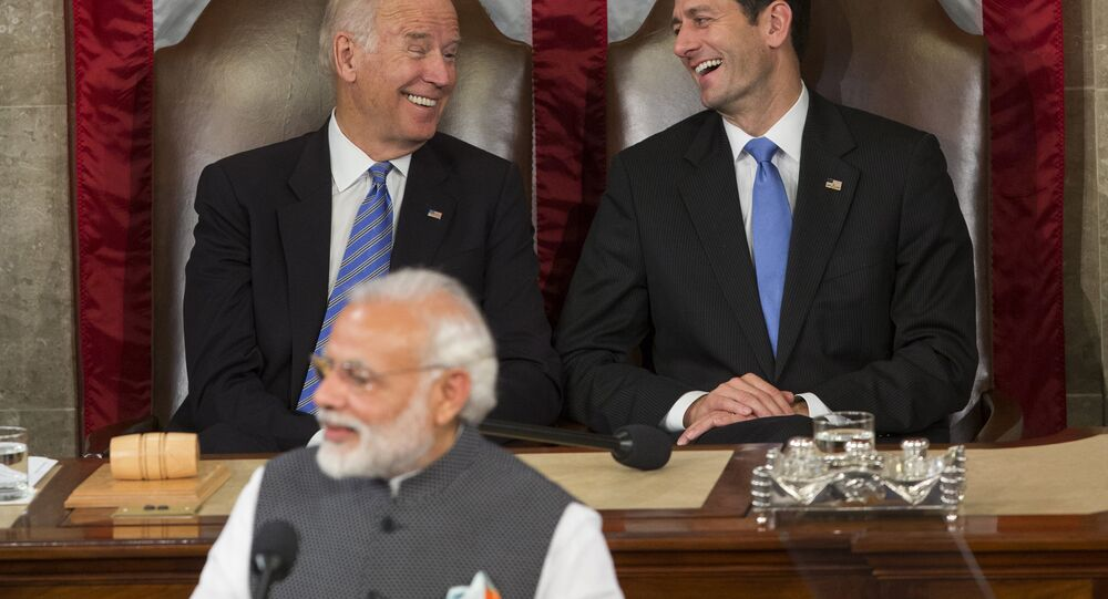 Vice President Joe Biden and House Speaker Paul Ryan of Wis., laugh as Indian Prime Minister Narendra Modi addresses a joint meeting of Congress on Capitol Hill in Washington, Wednesday, June 8, 2016.