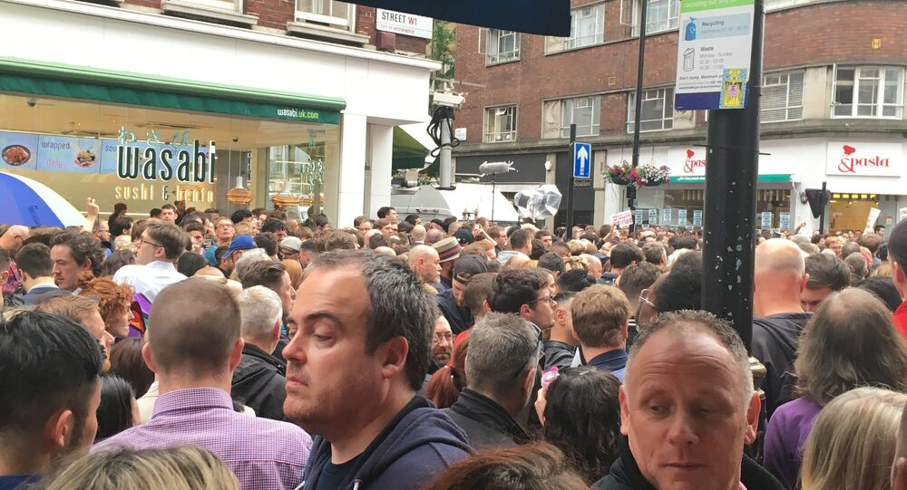 Crowd gathers in London for the vigil in honor of Orlando shooting victims