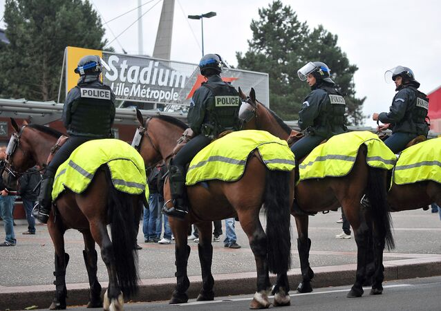 French mounted riot police stand in front of the Metropole stadium