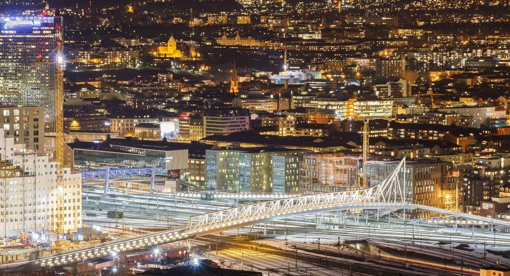 The bridge over the railway. Oslo, Norway.
