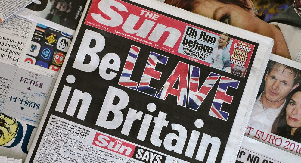 An arrangement of newspapers pictured in London on June 14, 2016 shows the front page of the Sun daily newspaper with a headline urging readers to vote 'Leave' in the June 23 EU referendum.