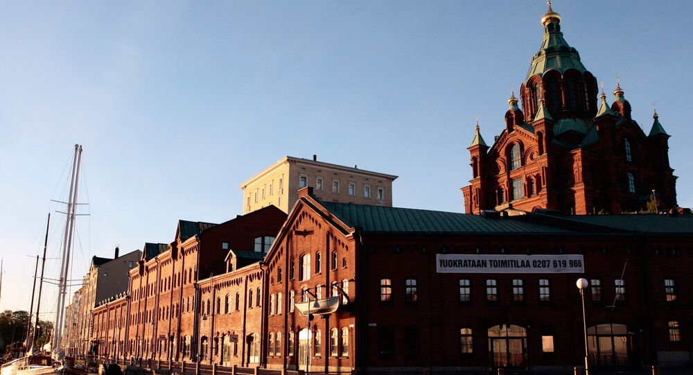 Finland. Helsinki. Kanava Terminal and Assumption Cathedral.