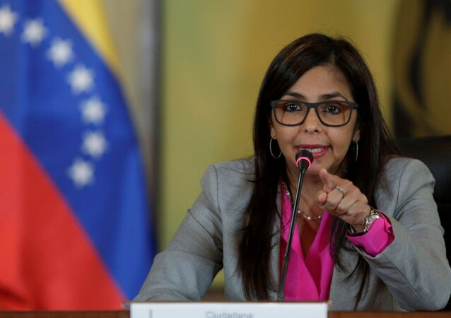 Venezuela's Foreign Minister Delcy Rodriguez gestures as she talks to the media during a news conference in Caracas, Venezuela June 1, 2016.