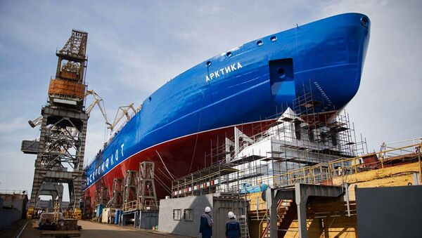 The Arktika, the first vessel in the series of three Project 22220 LK-60 Nuclear Icebreakers being built by Baltic Shipyard Shipbuilding. - Sputnik International