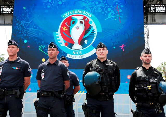 French police and gendarmes are seen during a visit at a fanzone ahead of the UEFA 2016 European Championship.