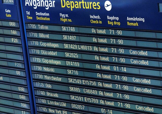 Cancelled SAS flights are seen on the information board at Arlanda airport, Sweden, June 13, 2016.