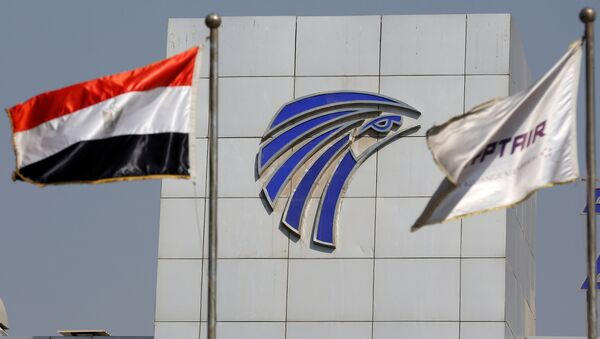 Egypt and EgyptAir flags are seen infront of an Egyptair in-flight service building at Cairo International Airport, Egypt, May 19, 2016. - Sputnik International