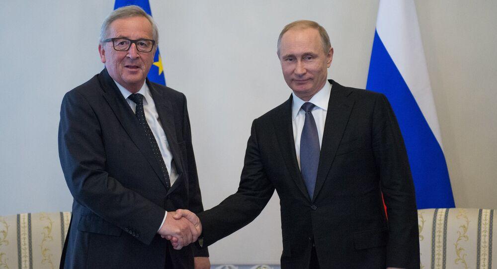 Russian President Vladimir Putin meeting in St.Petersburg with Jean-Claude Juncker, President of the European Commission