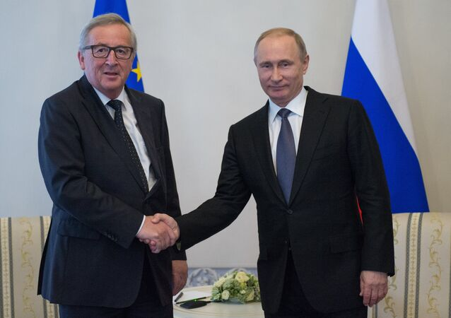 Russian President Vladimir Putin meeting in St.Petersburg with Jean-Claude Juncker, President of the European Commission