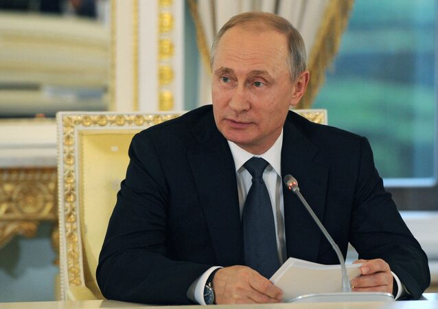 Russian President Vladimir Putin at a meeting with foreign investors at the St. Petersburg International Economic Forum (SPIEF)
