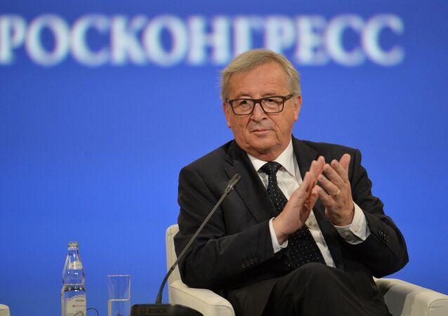 President of the European Commission Jean-Claude Juncker speaks at the opening ceremony of the 20th St. Petersburg International Economic Forum