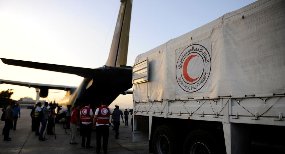 Humanitarian aid supplies are unloaded from a Czech military airplane into a Syrian Arab Red Crescent truck, after it landed in Damascus airport, Syria June 5, 2016