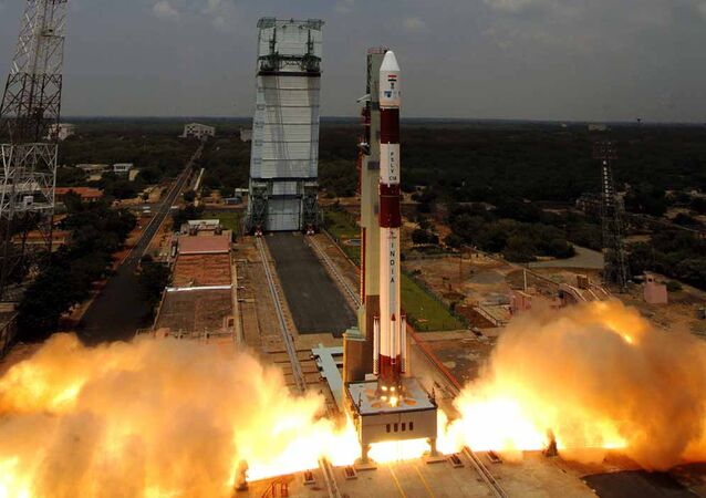 In this handout picture taken on September 23, 2009, Indian Space Research Organisation (ISRO) Polar Satellite Launch Vehicle (PSLV)-C14 is launched from The Satish Dhawan Space Centre (SDSC) SHAR in Sriharikota